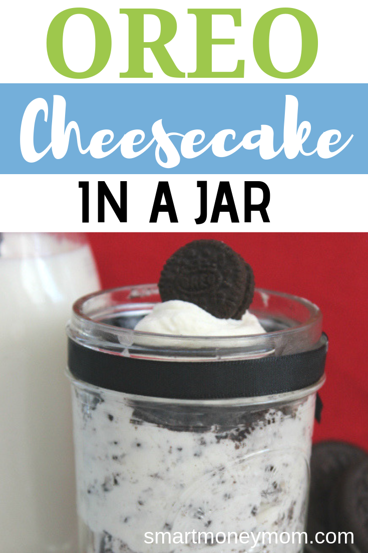 Oreo Cheesecake in a Jar. Here is a #sweettreat for any occasion! I love putting things in #MasonJars also-- something about not needing to bake it--just makes it even better! #food