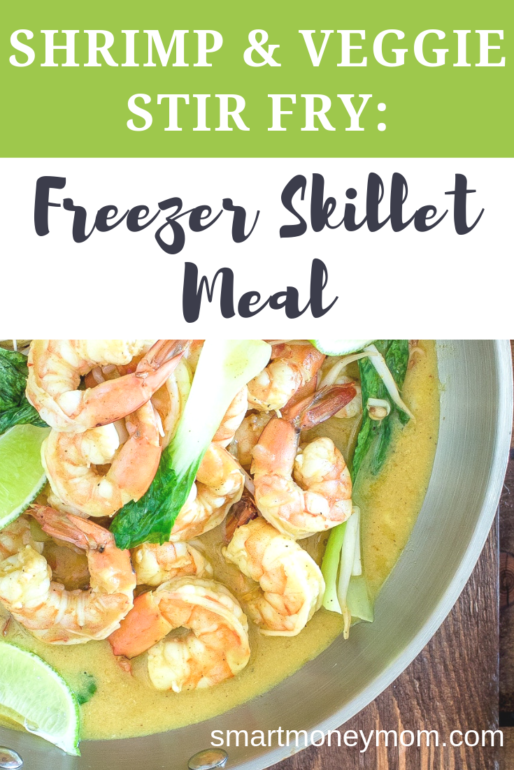 Shrimp & Veggie Stir Fry: Freezer Skillet Meal. Sweet, tangy, with a definite Asian flair this dish is perfect served over a big bowl of white or brown rice. Check out this very #simplerecipe for you! #recipefordinner #recipeseasy #shrimprecipeseasy #shrimprecipe