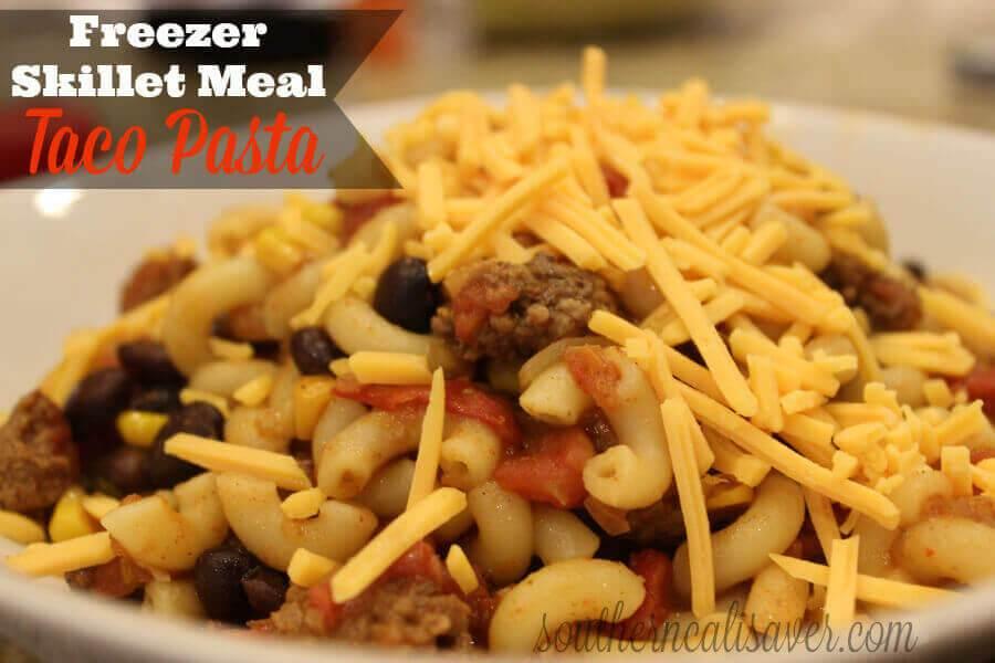 Taco Pasta: Freezer Skillet Meal